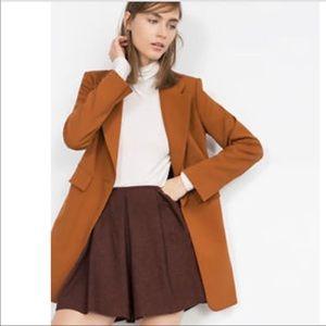 Zara brown pleated wool skirt